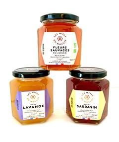 Miel fleurs sauvages, lavande, sarrasin